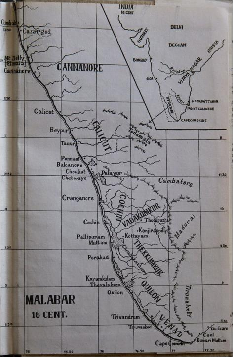 "map of malabar 16th century mundadan ""The Arrival of the Portuguese in India and the Thomas Christians under Mar Jacob 1498 1552"" by Dr. Mathias Mundadan"
